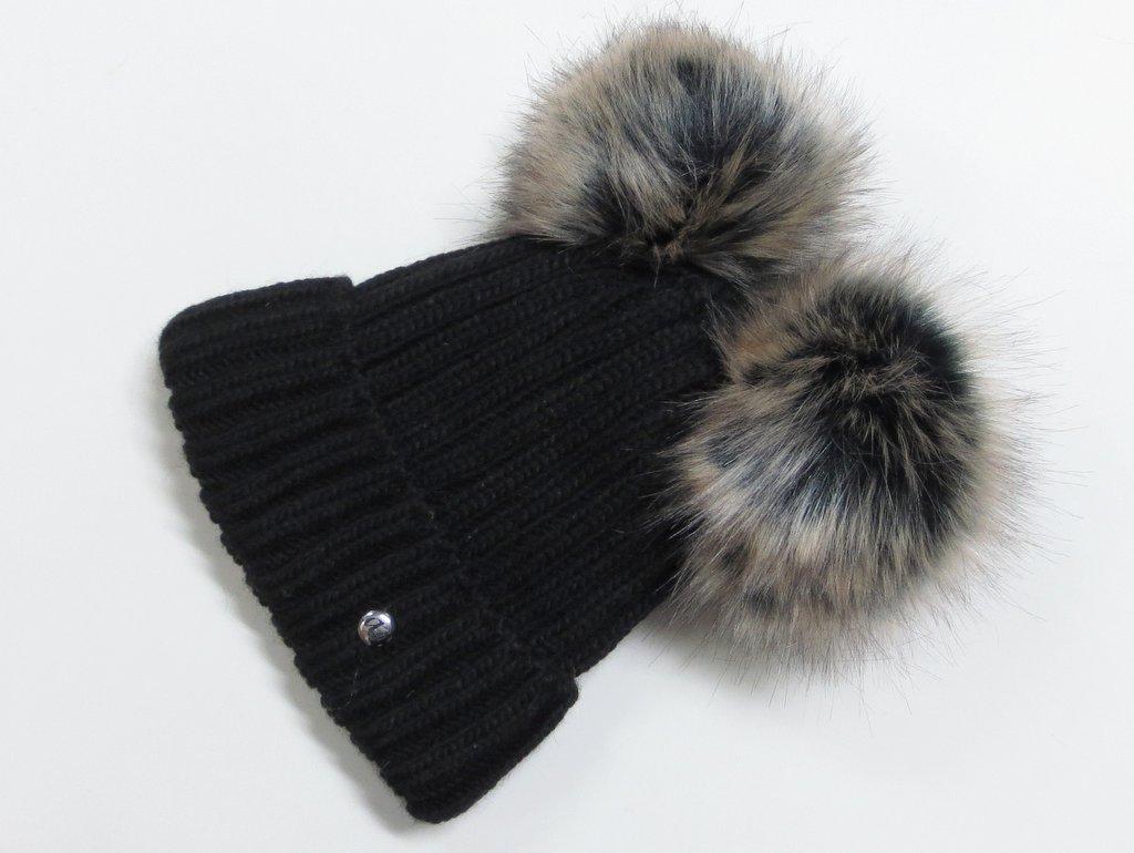 6a128e5b6 Zateplená dámska čiapka s 2 brmbolcami- čierna
